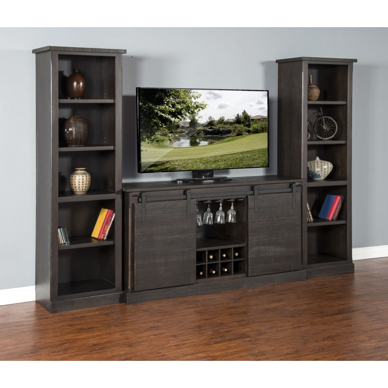 3577CO B Charred Oak Barn Door TV Console